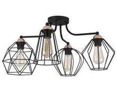 Lampa oprawa druciana sufitowa plafon TK Lighting Galaxy 4x60W E27 czarna/ miedź 1645
