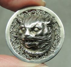 PEWTER PICTURE BUTTON ~ CAT HEAD W/ FILIGREE BACKGROUND   METAL