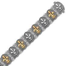 18K Yellow Gold and Sterling Silver Fleur De Lis Motif Fancy Bracelet P150-35830-7.5