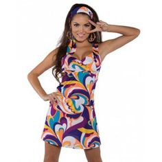 Sexy Retro Mod Go Go Girl 60s 70s Disco Hippie Halloween Costume, Size: Small, Multicolor