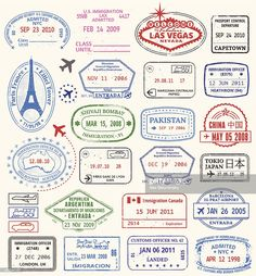 World Travel passport Stamps. A series of world travel stamps. This vector illustration has stamps from New York NYC United States USA Las Vegas Paris France Canada China Argentina Australia India and Pakistan.