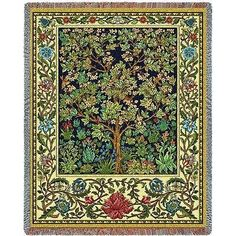"""""""Tree of Life Tapestry Throw"""" This lovely tapestry throw features the artwork of William Morris. Colorful floral and botanical design. Cotton 100%. Woven on Jacquard looms. Measures 70"""" high x 54"""" wid"""