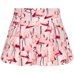 Red Valentino - Flamingo Peplum Shorts ($395) ❤ liked on Polyvore featuring shorts, pink, skirts, peplum shorts, retro shorts, red valentino, relaxed fit shorts and relaxed shorts