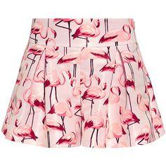 Red Valentino - Flamingo Peplum Shorts ($395) ❤ liked on Polyvore featuring shorts, skirts, bottoms, pants, red valentino, relaxed fit shorts, relaxed shorts, peplum shorts and retro shorts