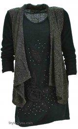 AP Simona Sweater Shirt Dress In Black & Gray
