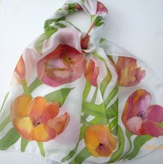 Tulips hand painted silk scarf by Colourscope on Etsy