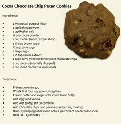 Cocoa Chocolate Chip Pecan Cookies