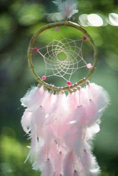 Pink wall hanging dream catcher Light Pink by MysteriousForests