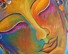 Buddha print - Buddha wall art - Buddha home decor - Meditation art - Spiritual art - Feng shui decor - Zen art - Yoga studio art Buddha Wall Art, Buddha Painting, Zen Painting, Painting Lessons, Buddha Face, Buddha Zen, Gifts For Art Lovers, Lovers Art, Pintura Zen