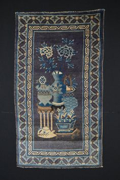 Vintage Chinese Art Deco Rug // Size 3x5 // Doll Purple & Blue