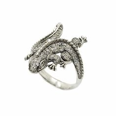 Lizard Women Ring Sterling Silver 925 with Zircons Gemstones 925 Silver, Sterling Silver Rings, Heart Ring, Gemstone Rings, Rings For Men, Gemstones, Pendant, Metal, Jewelry