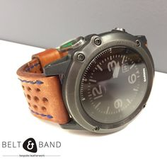 Make your Garmin Fenix 3 unique. This is our extra thick cow hide rally strap with blue edge stitching. Garmin Fenix 3, Nato Strap, Leather Working, Tan Leather, Watch Bands, Belt, Mens Fashion, Watches, Watch Straps