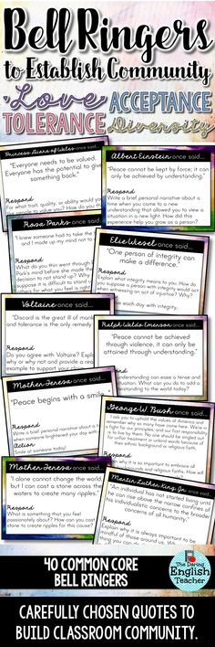 For WRITING WEDNESDAYS! Bell Ringers to Establish Classroom Community. Writing prompts for love, acceptance, tolerance, and diversity. Ideal for high school and middle school students. Middle School Ela, Middle School Classroom, English Classroom, Ela High School, High School Teachers, Middle School Advisory, Middle School Health, Middle School Counselor, It Management