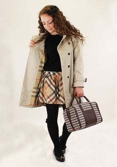 42116b29c Burberry girls mac and dress teamed with Angel's Face hair bow, Condor  tights, Melissa Vivienne Westwood shoes and Aquascutum bag. Designer  Childrenswear