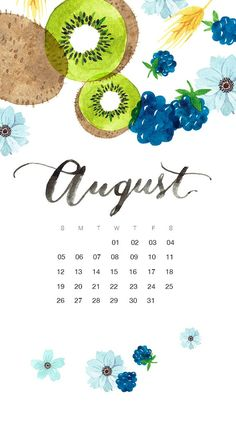 Watercolor August 2018 iPhone Calendar Wallpapers