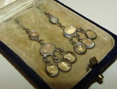 LUXURIANT, VICTORIAN,STERLING SILVER CHANDELIER EARRINGS WITH NATURAL MOONSTONES  | eBay