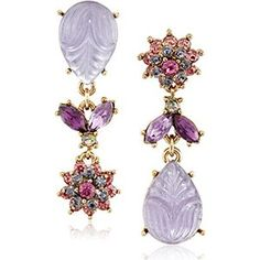 """Betsey Johnson """"Fall Follies"""" Carved Stone and Flower Mismatch Drop Earrings"""