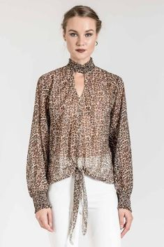 This leopard top with tie front is ideal for night outs. Bell Sleeves, Bell Sleeve Top, Leopard Top, Night Out, Tie, Blouse, Long Sleeve, Women, Fashion
