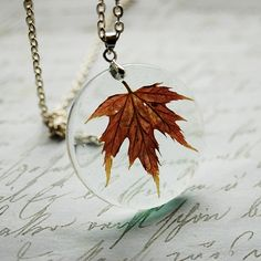 Pressed Leaf Necklace Red Maple Botanical by NaturalPrettyThings, $28.00