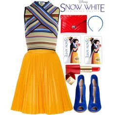 Disney's Snow White and the Seven Dwarfs by alaria on Polyvore featuring moda, MSGM, Gianvito Rossi, BCBGeneration, Valentino, Estée Lauder and snowwhite