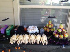 Halloween party popcorn hands