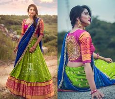 Looking for best half saree blouse designs, check out 30 cool blouse models and patterns that will make you look stunning on any half saree. Lehenga Saree Design, Half Saree Lehenga, Lehnga Dress, Lehenga Designs, Banarasi Lehenga, Kids Lehenga, Anarkali, Half Saree Designs, Sari Blouse Designs