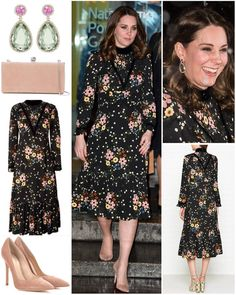"""Today's outfits: For an evening at the National Portrait Gallery, The Duchess wore a new floral…"""""""