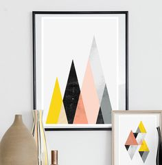 Geometric print Abstract art Mountains print watercolor by handz