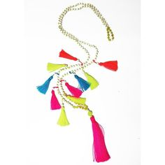 TRIBE + FABLE Multi Tassel Necklace - Neon ($65) ❤ liked on Polyvore featuring jewelry, necklaces, neon, semi precious jewellery, neon pink jewelry, tribal jewelry, cocktail jewelry and semi precious stone jewelry