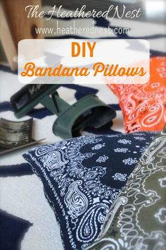 DIY Bandana Pillows ~ use bandanas and basic sewing techniques to make pillows in a rainbow of colors!
