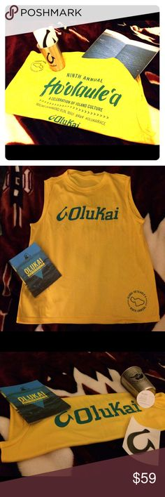 NWOT Hawaii's OLUKAI LE Limited Edition unisex sporty race muscle tee from Olukai's 9th Annual Hoolaulea on Maui's north shore. NWOT light weight material, like dry fit sports material LIVE🌺Laugh🌈LOVE🏝 Rep Aloha❤️🌺❤️🙌 BONUS🙌 stainless steel cup featuring the SHAKA and HOOK, stickers, and lotion samples from earth friendly company ALL GOOD that was doing a promo @Hoolaulea OluKai Other