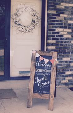 Last weekend, our family and friends got together to celebrate Charlie Grace! My sweet sister-in-law organized and hosted, but I got to help. Baby Q Shower, Cheap Baby Shower, Boy Baby Shower Themes, Baby Q Invitations, My Sweet Sister, Southern Baby, Bbq, Baby Decor, Gender Reveal