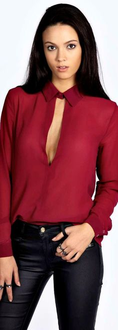 Rosella Collared Deep Plunge Long Sleeve Blouse - Tops  - Street Style, Fashion Looks And Outfit Ideas For Spring And Summer 2017