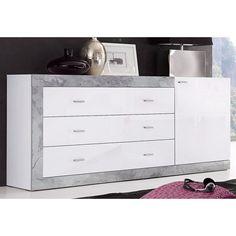239e Buffet contemporain 1 porte 3 tiroirs - Décor blanc / béton- Vue 1