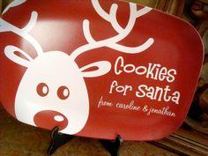 Cookies for Santa reindeer plate. I would change this to reindeer snacks instead of cookies for santa.
