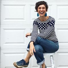 You guys.  I just thrifted this @anthropologie sweater for $6.  It's never been worn.  If my personality were a sweater, this is what it would like like.  Talk about inside-out congruency!! 👊🏼💙👊🏼 (Oh, and I totally found this stool at the dump a few weeks ago and I love it.  Check to see if your local dump has a (FREE) swap shop!  It's my favorite place to shop for hard-goods.)