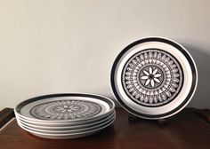 Vintage Mikasa Dinner Plates StudioKraft Capreol Black and White Design Pattern, Set of Six $75