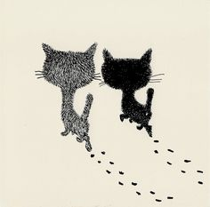 Two cats illustration