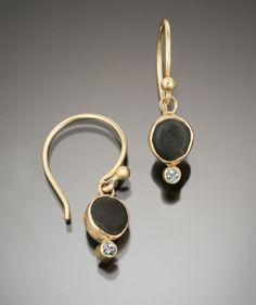 18K Tiny Basalt & Diamond Dangly Earrings