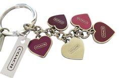 Coach Multi Heart Mix Key Fob Chain Keychain Charms silver #Coach