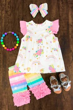 27b4553a92c Pastel Rainbow Unicorn Capri Set