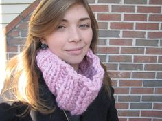 Rose PINK knitted Rib Cowl Neckwarmer READY to by PlethoraGifts, $18.00