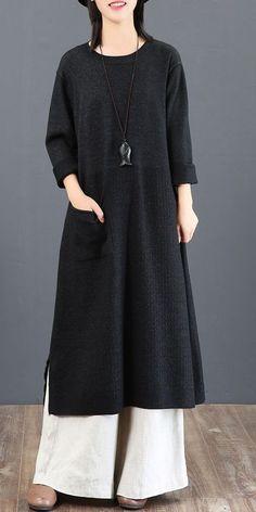 Women Loose Black Winter Sweater Dresses 5808 – Linen Dresses For Women Muslim Fashion, Modest Fashion, Hijab Fashion, Fashion Dresses, Winter Sweater Dresses, Winter Sweaters, Western Dresses, Linen Dresses, Designer Dresses