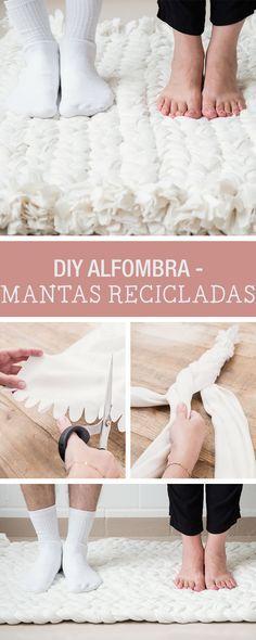 Tutorial DIY: Cómo hacer una alfombra reciclada con mantas en DaWanda.es #alfombra #reciclaje #DIY #manualidades #hechoamano #handmade #design #diseño #deco #decoracion #interior #otoño #invierno #winter #fall #indoor #DaWanda