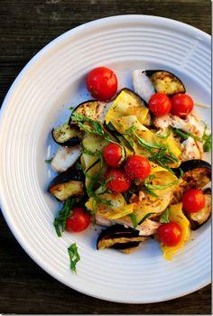 summer chicken and eggplant pasta