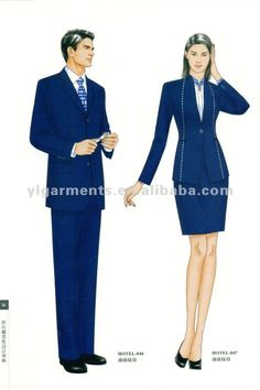 General manager uniform male and female Corporate Uniforms, Staff Uniforms, Work Uniforms, Fashion Drawing Dresses, Fashion Sketches, Office Wear Dresses, Dresses For Work, Hotel Uniform, Office Uniform
