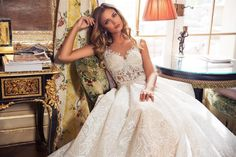 Kamelia Our beautiful Kamelia will leave you feeling in like a real princess. This Elegante gown features lots of texture, lace appliqué and beading making it very unique. A must have this season Couture Wedding Gowns, Wedding Dresses 2018, Prom Dresses, Amazing Wedding Dress, White Gowns, Lace Applique, Bridal Collection, New Dress, Ball Gowns