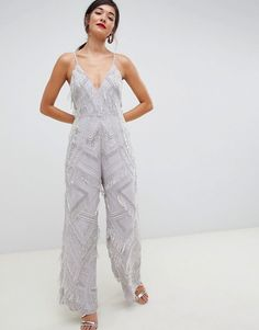 Shop ASOS EDITION fringe & pearl embellished jumpsuit with wide leg. With a variety of delivery, payment and return options available, shopping with ASOS is easy and secure. Shop with ASOS today. Jumpsuit Prom Dress, Jumpsuit Dressy, Jumpsuits For Women Formal, Long Jumpsuits, Embellished Jumpsuit, Denim Playsuit, Casual Dress Outfits, Prom Dresses, Clothes For Women