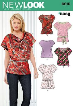 New Look Sewing Pattern 6915 Misses Tops, Size A (8-10-12-14-16-18) Simplicity Creative Group Inc - Patterns http://www.amazon.com/dp/B004RSU222/ref=cm_sw_r_pi_dp_xp2Vtb1KMTSNN64C