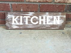 "Distressed Wood Sign- Vintage Farmhouse font ""Kitchen"" 